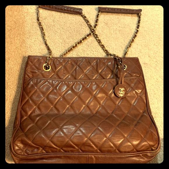 CHANEL Handbags - Vintage CHANEL brown color lamb leather tote